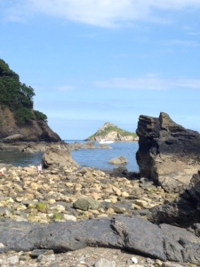 View of Thatcher's Rock from Meadfoot Beach
