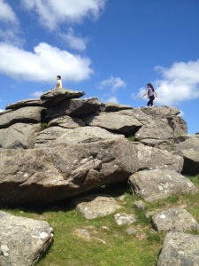 Clambering onto one of the many tors